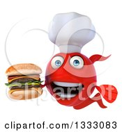 3d Red Fish Chef Holding A Double Cheeseburger