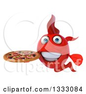 Clipart Of A 3d Red Fish Holding A Pizza Royalty Free Illustration