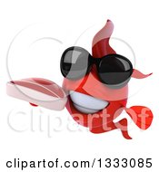 Clipart Of A 3d Red Fish Wearing Sunglasses And Holding A Beef Steak Royalty Free Illustration