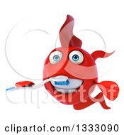 Clipart Of A 3d Red Fish Brushing His Teeth Royalty Free Illustration