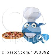 Clipart Of A 3d Blue Fish Chef Holding A Pizza Royalty Free Illustration