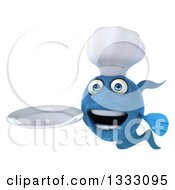 3d Blue Fish Chef Holding A Plate