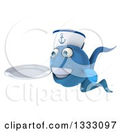 Clipart Of A 3d Happy Blue Sailor Fish Facing Left And Holding A Plate Royalty Free Illustration by Julos