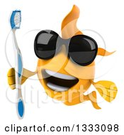 Clipart Of A 3d Happy Yellow Fish Wearing Sunglasses And Holding A Toothbrush Royalty Free Illustration by Julos