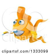 Clipart Of A 3d Happy Yellow Fish Facing Left And Brushing His Teeth Royalty Free Illustration