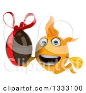 Clipart Of A 3d Happy Yellow Fish Holding A Chocolate Easter Egg Royalty Free Illustration by Julos