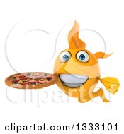 Clipart Of A 3d Happy Yellow Fish Holding A Pizza Royalty Free Illustration
