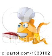 Clipart Of A 3d Happy Yellow Fish Chef Facing Left And Holding A Beef Steak Royalty Free Illustration
