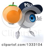 Clipart Of A 3d Blue Police Eyeball Character Facing Slightly Right Jumping And Holding A Navel Orange Royalty Free Illustration