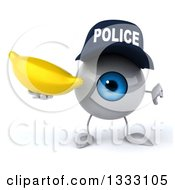 Clipart Of A 3d Blue Police Eyeball Character Giving A Thumb Down And Holding A Banana Royalty Free Illustration