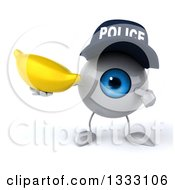 Clipart Of A 3d Blue Police Eyeball Character Holding And Pointing To A Banana Royalty Free Illustration