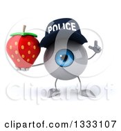 Clipart Of A 3d Blue Police Eyeball Character Holding Up A Finger And A Strawberry Royalty Free Illustration