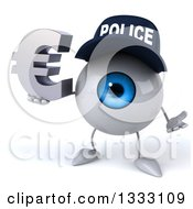 Clipart Of A 3d Blue Police Eyeball Character Shrugging And Holding A Euro Symbol Royalty Free Illustration