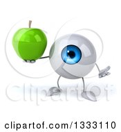 Clipart Of A 3d Blue Eyeball Character Shrugging And Holding A Green Apple Royalty Free Illustration