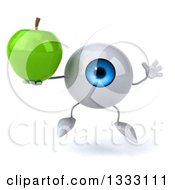 Clipart Of A 3d Blue Eyeball Character Jumping And Holding A Green Apple Royalty Free Illustration