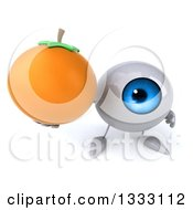 Clipart Of A 3d Blue Eyeball Character Holding Up A Navel Orange Royalty Free Illustration