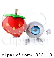 Clipart Of A 3d Blue Eyeball Character Holding Up A Strawberry And A Thumb Down Royalty Free Illustration