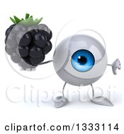 Clipart Of A 3d Blue Eyeball Character Holding A Blackberry And Thumb Down Royalty Free Illustration