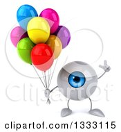 Clipart Of A 3d Blue Eyeball Character Holding Up A Finger And Party Balloons Royalty Free Illustration