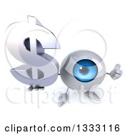 Clipart Of A 3d Blue Eyeball Character Holding Up A Thumb And Dollar Currency Symbol Royalty Free Illustration