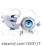Clipart Of A 3d Blue Eyeball Character Holding Up A Thumb And Euro Currency Symbol Royalty Free Illustration