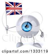 Clipart Of A 3d Blue Eyeball Character Holding A British Union Jack Flag Royalty Free Illustration