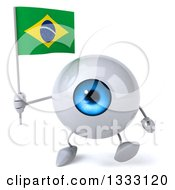 Clipart Of A 3d Blue Eyeball Character Walking And Holding A Brazilian Flag Royalty Free Illustration