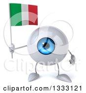 Clipart Of A 3d Blue Eyeball Character Holding An Italian Flag Royalty Free Illustration