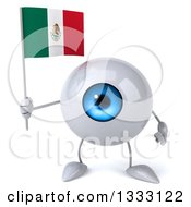 Clipart Of A 3d Blue Eyeball Character Holding A Mexican Flag Royalty Free Illustration