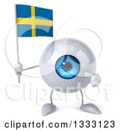 Clipart Of A 3d Blue Eyeball Character Holding And Pointing To A Swedish Flag Royalty Free Illustration