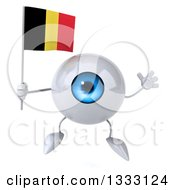 Clipart Of A 3d Blue Eyeball Character Jumping And Holding A Belgian Flag Royalty Free Illustration