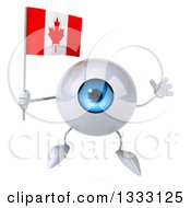 Clipart Of A 3d Blue Eyeball Character Jumping And Holding A Canadian Flag Royalty Free Illustration