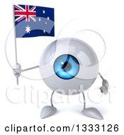 Clipart Of A 3d Blue Eyeball Character Holding An Australian Flag Royalty Free Illustration