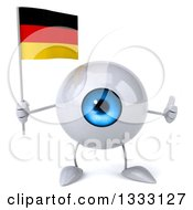 Clipart Of A 3d Blue Eyeball Character Giving A Thumb Up And Holding A German Flag Royalty Free Illustration