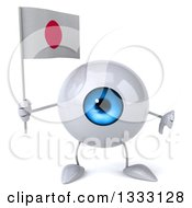 Clipart Of A 3d Blue Eyeball Character Giving A Thumb Down And Holding A Japanese Flag Royalty Free Illustration