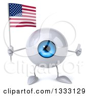 Clipart Of A 3d Blue Eyeball Character Giving A Thumb Up And Holding An American Flag Royalty Free Illustration