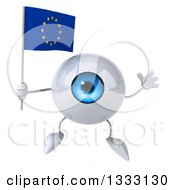 Clipart Of A 3d Blue Eyeball Character Jumping And Holding A European Flag Royalty Free Illustration