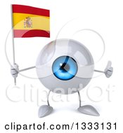 Clipart Of A 3d Blue Eyeball Character Giving A Thumb Up And Holding A Spanish Flag Royalty Free Illustration