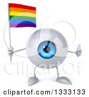 Clipart Of A 3d Blue Eyeball Character Giving A Thumb Up And Holding A Rainbow Flag Royalty Free Illustration