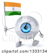 Clipart Of A 3d Blue Eyeball Character Walking And Holding An Indian Flag Royalty Free Illustration