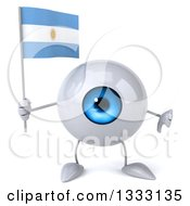 Clipart Of A 3d Blue Eyeball Character Giving A Thumb Down And Holding An Argentine Flag Royalty Free Illustration