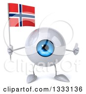 Clipart Of A 3d Blue Eyeball Character Giving A Thumb Up And Holding A Norwegian Flag Royalty Free Illustration