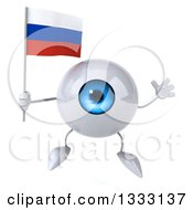 Clipart Of A 3d Blue Eyeball Character Jumping And Holding A Russian Flag Royalty Free Illustration