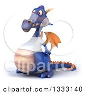 Clipart Of A 3d Casual Purple Dragon Wearing A T Shirt Facing Slightly Left Royalty Free Illustration