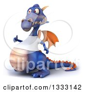 Clipart Of A 3d Casual Purple Dragon Facing Left Giving A Thumb Up And Wearing A T Shirt Royalty Free Illustration
