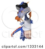 Clipart Of A 3d Casual Purple Dragon Wearing A T Shirt And Sunglasses Pointing Around A Sign Royalty Free Illustration