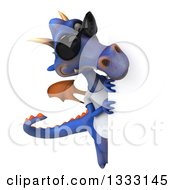 Clipart Of A 3d Casual Purple Dragon Wearing A T Shirt And Sunglasses Looking Around A Sign Royalty Free Illustration