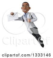 Clipart Of A 3d Young Black Male Doctor Flying Holding And Pointing To An Envelope Royalty Free Illustration