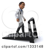 Clipart Of A 3d Young Black Male Doctor Facing Right And Walking On A Treadmill Royalty Free Illustration