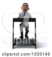 Clipart Of A 3d Young Black Male Doctor Struggling On A Treadmill Royalty Free Illustration